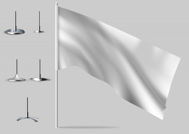 Białe realistyczne flagi. s białej flagi.