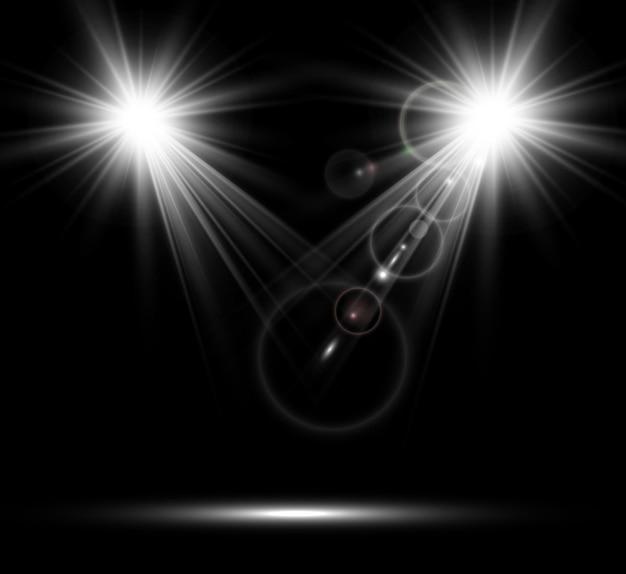 Białe reflektory.