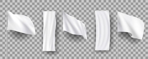 Białe różne puste flagi z piór, puste sztandary stoją, 3d realistyczne s