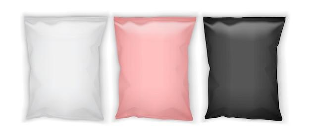 Białe, różowe i czarne opakowania papierowe na białym tle