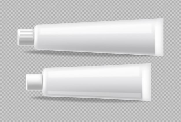 Białe rurki realistyczne na białym tle. reklamuj pusty pojemnik. kosmetyki, medycyna lub pasta do zębów 3d szczegółowe ilustracje