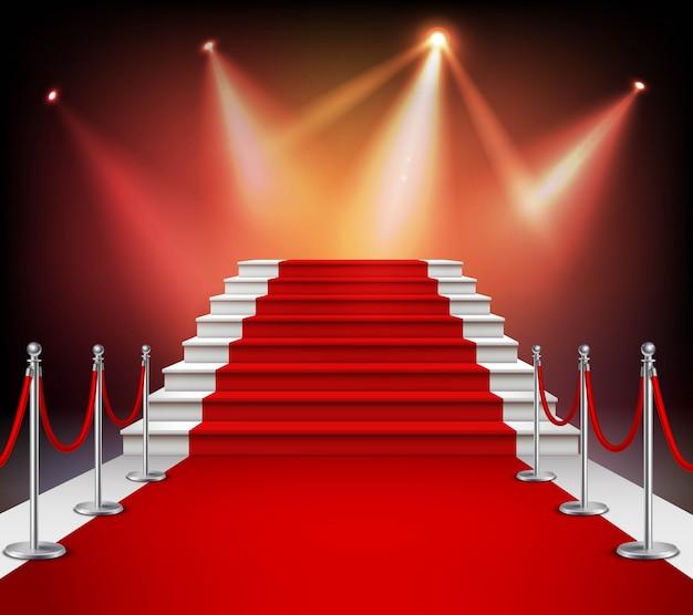 Białe schody pokryte czerwonym dywanem i oświetlone przez realistyczne ilustracji wektorowych reflektorów