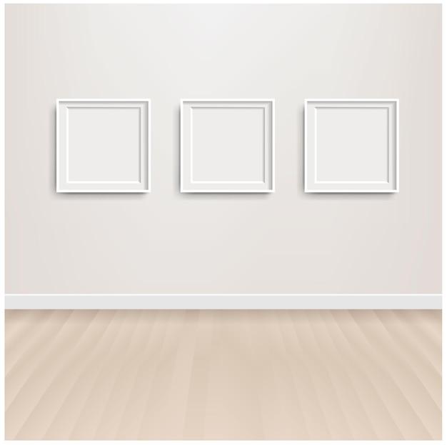 Białe skandynawskie wnętrza pokoju i obraz