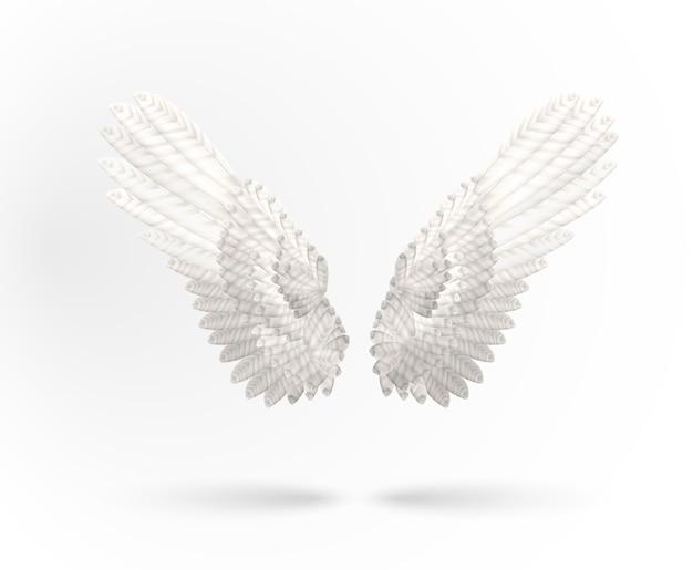 Białe skrzydła anioła na białym tle
