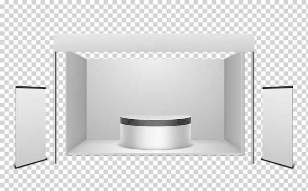 Białe stoisko wystawiennicze w realistycznym stylu