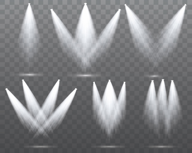 Białe światło reflektorów świeci na scenie, scenie.