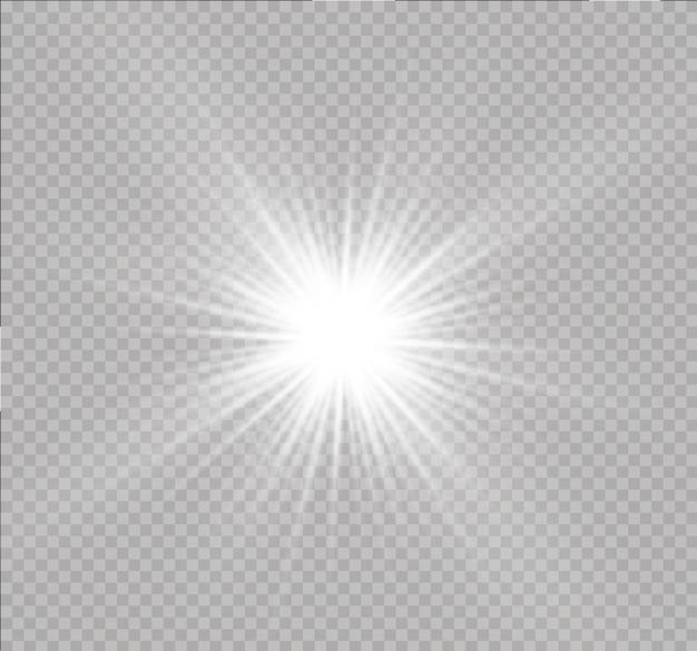 Białe świecące światło eksploduje na przezroczystym tle błyszczące magiczne cząsteczki pyłu jasna gwiazda przezroczyste świecące słońce jasne błyski