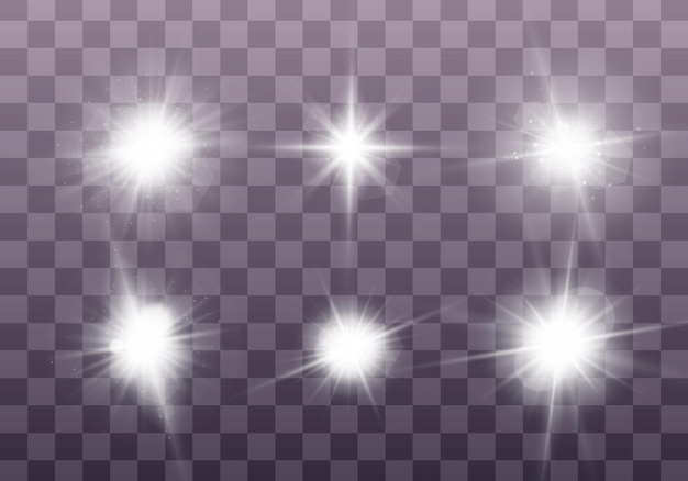 Białe świecące światło eksploduje na przezroczystym tle błyszczące magiczne cząsteczki pyłu zestaw jasnej gwiazdy przezroczyste świecące słońce jasny błysk wektor błyszczy aby wyśrodkować jasny błysk boże narodzenie