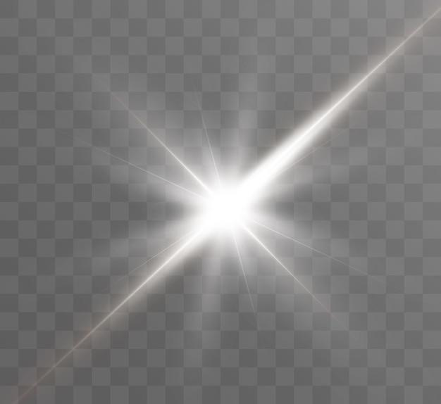 Białe świecące światło eksploduje na przezroczystym tle jasna gwiazda przezroczysty świecący brygad słoneczny sun