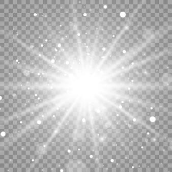 Białe świecące światło eksploduje z iskrami promieni. jasna gwiazda.