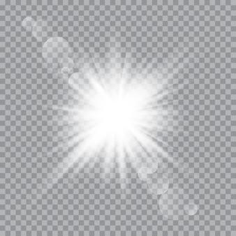 Białe świecące światło eksplozja wybuch z przezroczystym. wektorowa ilustracja dla chłodno efekt dekoraci z promieniem błyska. jasna gwiazda.
