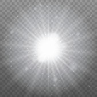 Białe świecące światło. jasna gwiazda, świecące słońce.
