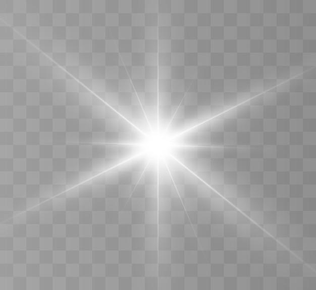 Białe świecące światło. jasna gwiazda, świecący jasny błysk słońca