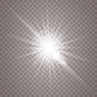 Białe świecące światło. magiczne cząsteczki pyłu. jasna gwiazda