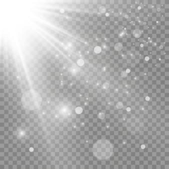 Białe świecące światło. piękne światło gwiazdy z promieni. słońce z flarą. jasna piękna gwiazda. światło słoneczne.