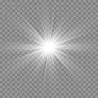 Białe świecące światło. piękne światło gwiazdy z promieni. słońce z flarą. jasna piękna gwiazda.