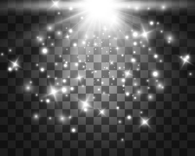 Białe świecące światło. piękne światło gwiazdy z promieni. słońce z pasemkami. jasna, piękna gwiazda. światło słoneczne.