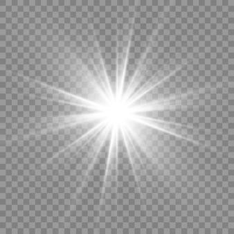 Białe świecące światło. piękne światło gwiazdy z promieni.