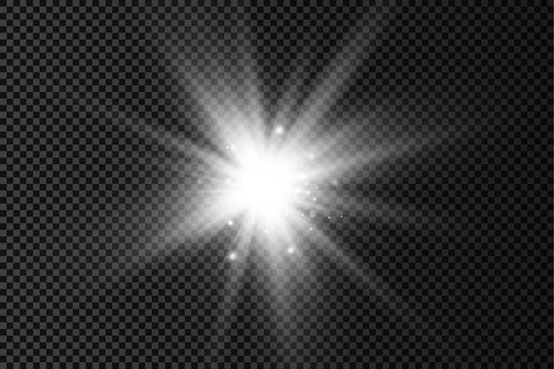 Białe świecące światło rozbłysk jasne gwiazdy promienie słoneczne efekt świetlny rozbłysk słońca