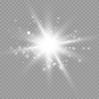 Białe świecące światło wybuch wybuch przezroczysty.