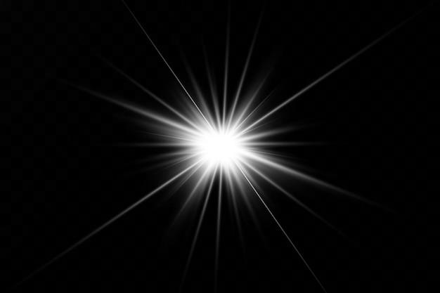 Białe świecące światło wybucha na czarnym tle