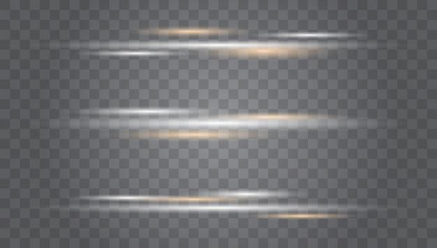 Białe świecące światło wybucha na przezroczystej wiązce laserowej, poziome promienie świetlne.