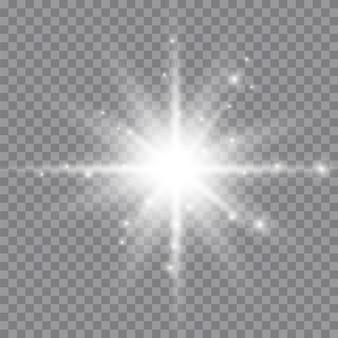 Białe świecące światło wybucha na przezroczystym. lśniące magiczne cząsteczki pyłu. jasna gwiazda. przezroczyste świecące słońce, jasny błysk