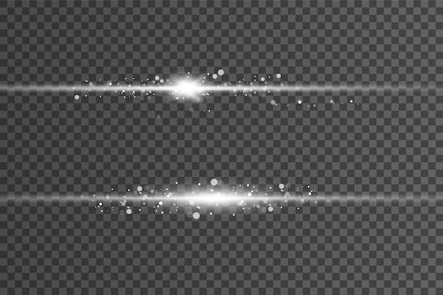 Białe świecące światło wybucha na przezroczystym tle. belka.