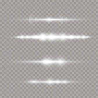 Białe świecące światło wybucha na przezroczystym tle. wiązki laserowe, poziome promienie świetlne. promienie słoneczne. piękne rozbłyski światła.