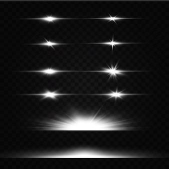 Białe świecące światło wybucha na przezroczystym tle. z promieniem. przezroczyste świecące słońce, jasny błysk. specjalny efekt świetlny flary obiektywu.