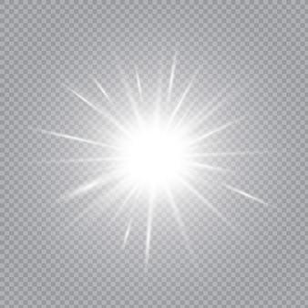 Białe świecące światło wybucha na przezroczystym tle.
