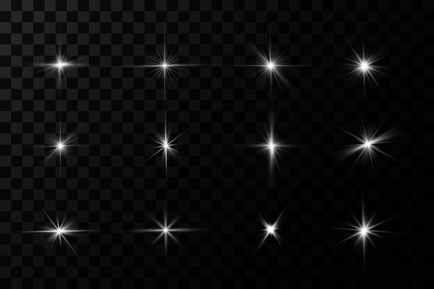 Białe świecące światło wybucha na przezroczystym tle