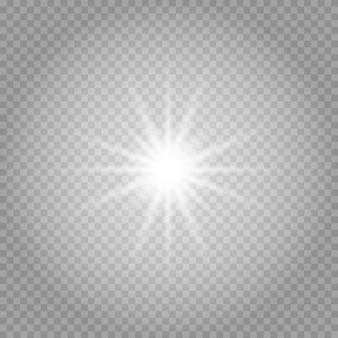 Białe świecące światło wybucha na przezroczystym.