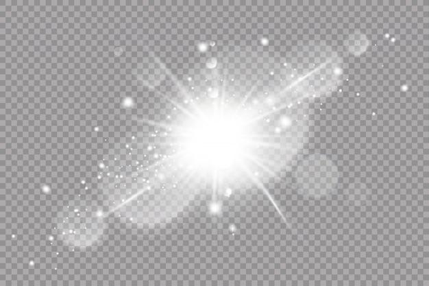 Białe świecące światło wybucha na przezroczystym