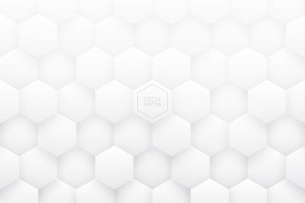 Białe sześciokąty 3d streszczenie tło