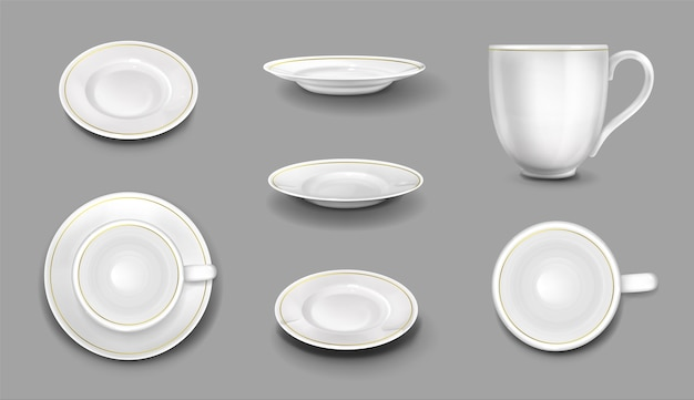 Białe talerze i filiżanki ze złotą obwódką, realistyczne 3d ceramiczne kubki i naczynia widok z góry i z boku. puste naczynia porcelanowe, sztućce do jedzenia i picia, ilustracji wektorowych, zestaw ikon na białym tle