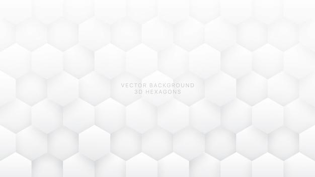 Białe tło abstrakcyjne sześciokąty 3d
