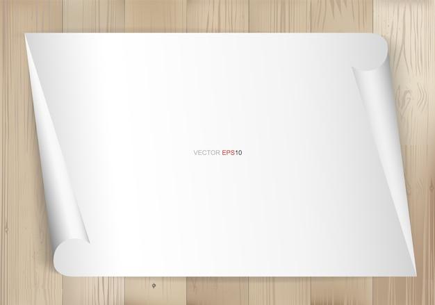 Białe tło arkusza papieru na tekstury drewna