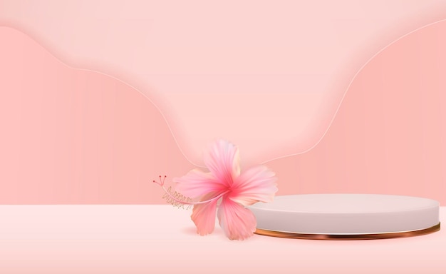 Białe tło cokole 3d z kwiatem hibiskusa