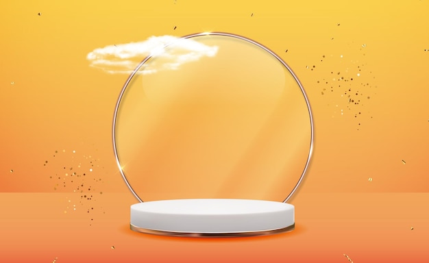 Białe tło cokołu 3d z ramą złotego szkła, realistyczne chmury i wstążka konfetti. modny pusty wyświetlacz podium
