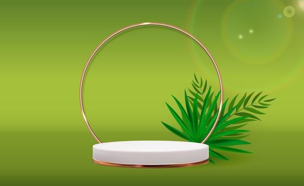 Białe tło cokołu 3d z ramą złotego szklanego pierścienia realistyczne liście palmowe dla magazynu mody prezentacji produktów kosmetycznych