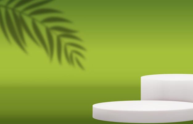 Białe tło cokołu 3d z realistycznym cieniem liści palmowych