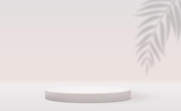 Białe Tło Cokołu 3d Z Realistycznym Cieniem Liści Palmowych Premium Wektorów