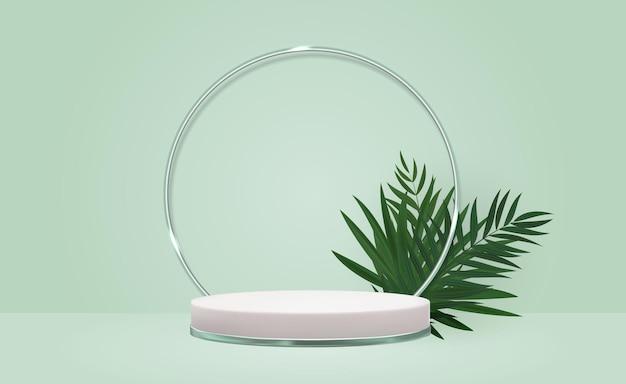 Białe tło cokołu 3d z realistycznymi liśćmi palmowymi