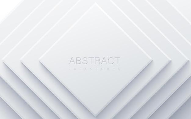 Białe tło geometryczne z kwadratowymi kształtami papieru