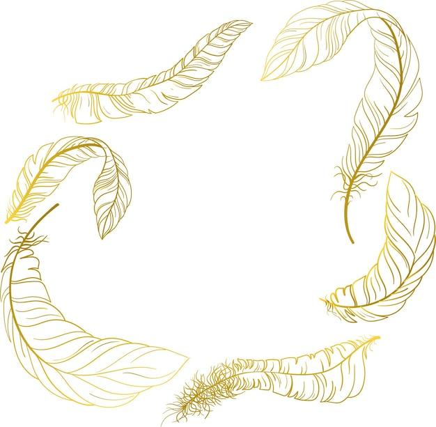 Białe tło karnawałowe ze złotymi piórami ilustracja wektorowa papieru