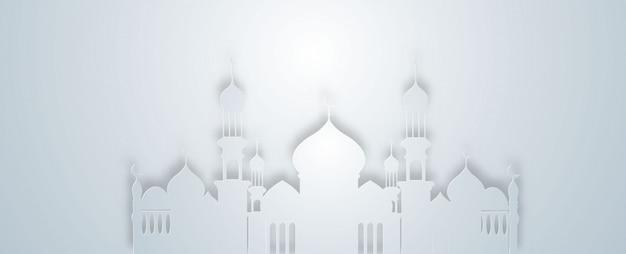 Białe tło meczetu