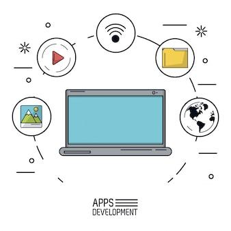 Białe tło plakat rozwoju aplikacji z laptopa
