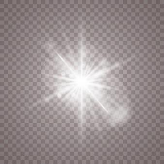 Białe tło świecące światła. jasna gwiazda. przezroczyste świecące słońce