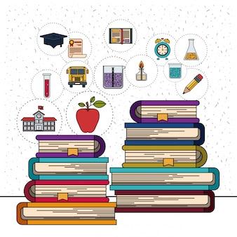 Białe tło z błyszczy stos książek z ikonami elementu edukacji